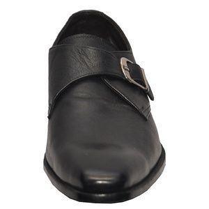 Handmade Black Leather Monk Strap Shoes